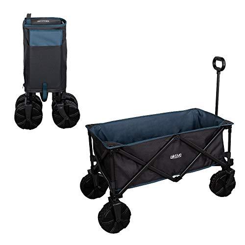 Aktive Carrito plegable de playa rueda especial, Azul marino, 91 x49 x 99 cm, 62620