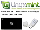 Linux Mint 19.3 New Latest Version for 2020 on 16GB USB - 64 & 32 Bit