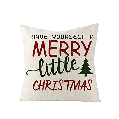 Qishi Christmas pillowcase cartoon pillowcase red and green letters home office living room sofa decoration