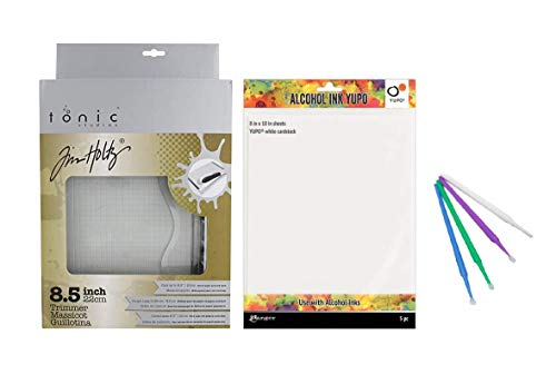 "Tim Holtz Tonic Studio 8.5"" Comfort Trimmer and Yupo Cardstock Bundle with PTP Flash Deals Blending Sticks"