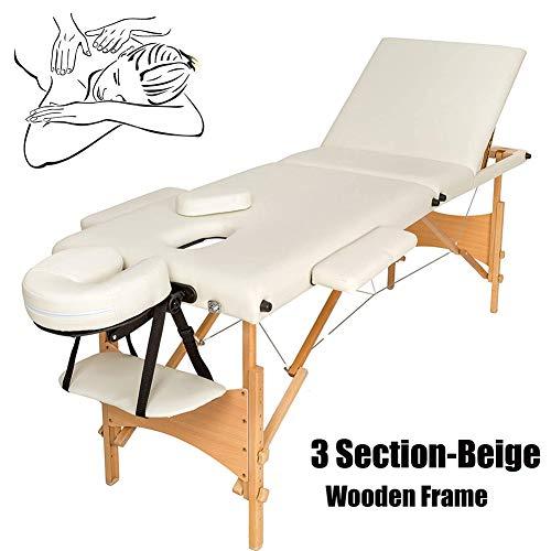 Professionele Massagetafel Bedbank Schoonheidsbed 3-sectie Lichtgewicht Opklapbare Bank Bed Verstelbare Hoogte voor Facial SPA Schoonheidssalon Tatoeage Therapie, 230KG Belasting - Houten Frame