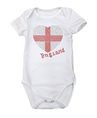 Petitebelle Body de algodón para bebé con diseño de corazón de la bandera de Inglaterra Nb-18m, blanco, 18 meses