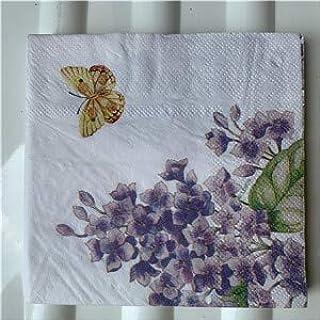 HXQCZ 25cm decoupage paper napkin wedding tissue elegant purple blue flower butterfly handkerchief birthday party beautifu...