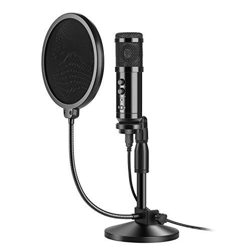 AGPTEK コンデンサーマイク ポップガード付き USBマイク PCマイク 卓上マイク マイクスタンド 単一指向性 ポップガード二重構造で マイク三脚スタンド付き PCボーカル用 高音質 集音 生放送 会議用 YOUTUBE Skype 通話 宅録 録音