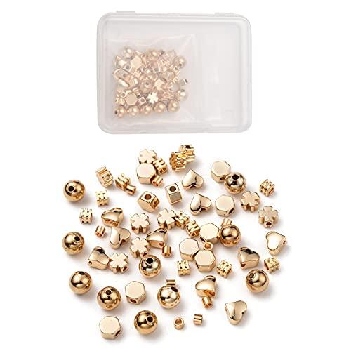 Cheriswely, 60 ciondoli a forma di cuore, con ciondolo a forma di cuore placcato oro 18 K, con forma rotonda, a forma di quadrifoglio, esagonale, per gioielli, bracciali, orecchini, foro da 1 a 2 mm