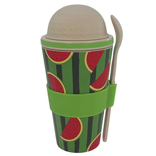 ebos Müsli-to-Go Becher aus Bambus - melaminfrei   Müslibecher, Müslischale, Joghurtbecher   verschiedene Designs (Melon slice - melaminfrei)