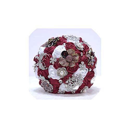 Bridal Bouquet Artificial Sparkly Crystal Brides Bouquet Diamond Satin Rose Wedding Flowers Artificial Beaded Bouquet