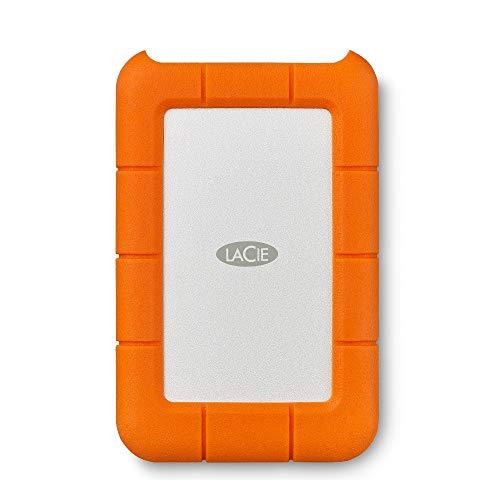 LaCie Rugged Mini, Unità Disco Esterna da 1 TB, USB 3.0, Resistente agli Urti e alle Cadute, per PC e Mac, Arancione/Grigio, 2 Anni di Servizi Rescue (LAC301558)