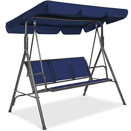Best Choice Products 3-Seater Outdoor Adjustable Canopy Swing Glider, Patio Loveseat Bench for Deck, Porch w/Armrests, Textilene Fabric, Steel Frame - Navy
