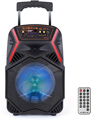 DAZONE Bluetooth Lautsprecher mit LED-Beleuchtung, Fernbedienung, Akku, USB, Micro SD, MP3, Radio, Karaoke und AUX-Anschluss