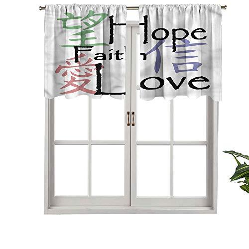 Hiiiman Cortina opaca para ventana con bolsillo para barra, diseño de símbolo de amor de la fe china, juego de 2, 137 x 91 cm para sala de estar, cortina recta corta