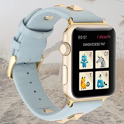 Correa Compatible con Apple Watch Correa 44mm 42mm 40mm 38mm, Remaches Dorados Tachuelas Correa de Cuero para Iwatch Series 5 4 3 2 1,42mm