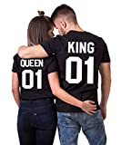 Daisy for U King Queen Shirts Couple Shirt Pärchen T-Shirts Paar Tshirt König Königin Kurzarm 1 Stücke-King1-schwarz-weiß(Herren)-L
