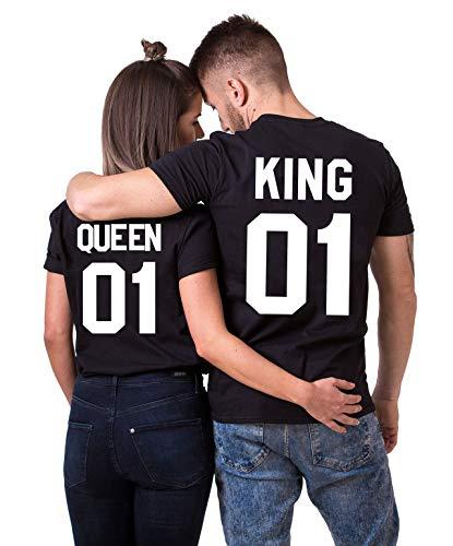 Daisy for U King Queen Shirts Couple Shirt Pärchen T-Shirts Paar Tshirt König Königin Kurzarm 1 Stücke-King1-schwarz-weiß(Herren)-M