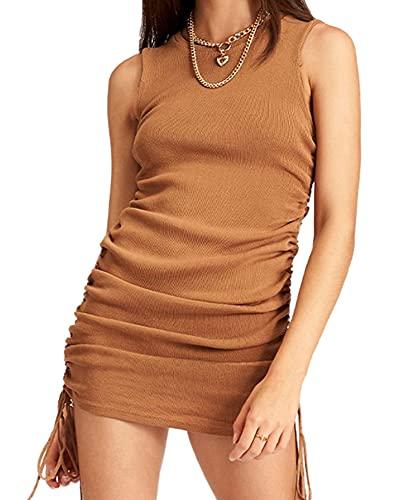 Springcmy Vestido corto de cuello redondo con cordón lateral acanalado, elástico, sin mangas, bodycon, A-café, L