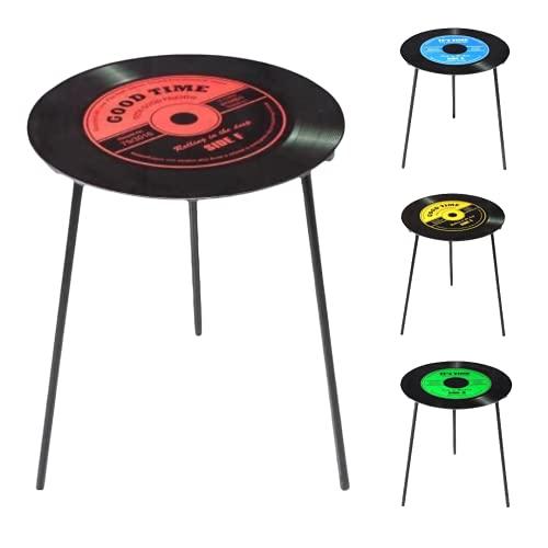 TIENDA EURASIA® Mesas Auxiliares para Salon - Mesa Auxiliar Estilo Vintage - Tapa de Cristal Diseño Vinilo - Ø 50 cm x h 50 cm (Rojo)