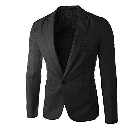 Sallyohno Männer Outwear Sakko Herren Blazer Stehkragen Anzugjacke Freizeit Business Mantel für Hochzeit Abschlussfeier Party Herbst Winter Jacke (XL, Schwarz)
