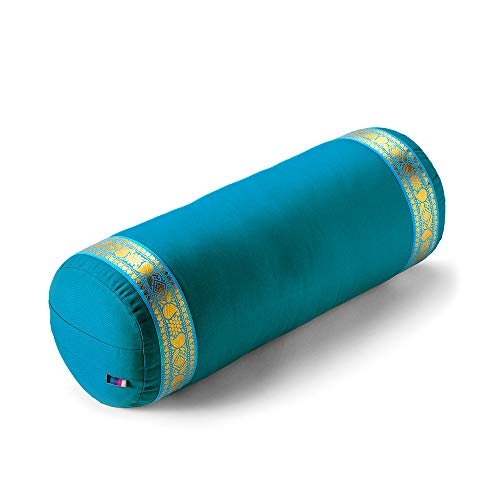 Yogamatters Yoga Bolster with Gold Trim (Ocean Green)