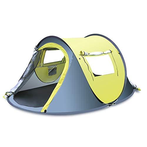 thematys® Campingzelt Wandern Outdoor 4 Mann Reise Trekking Outdoorzelt leichtes Pop Up Wurfzelt Zelt in Gelb Blau mit Tragetasche - für Camping, Festivals und Urlaub (3-4 Personen, Style 1)