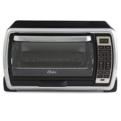 Oster Large Digital Countertop Convection Toaster Oven, 6 Slice, Black/Polished Stainless (TSSTTVMNDG-SHP-2) (Renewed)