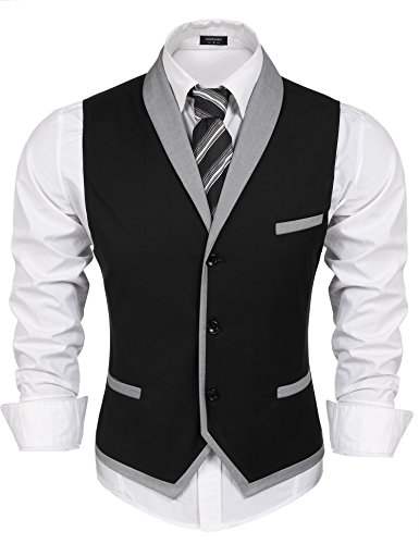 Coofandy Men's V-neck Sleeveless Slim Fit Vest,Jacket Business Suit Dress Vest,Black,XX-Large