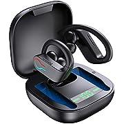 Donerton Écouteur Bluetooth 5.1, Écouteur sans Fil Sport IP7 Étanche, Oreillette Bluetooth Casque avec Micro Intégré, 3D Hi-FI Son Stéréo Ecouteurs Intra Auriculaire pour Jogging/Gym/Bureau, Écran LED