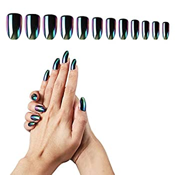Black Press On Nails Coffin Medium 24PCS Cosics Full Cover Glossy Fake Nail Mirror Chrome Metallic with Nail Glue Stickers Holographic Metallic Shiny Acrylic False Nails with Design for Women