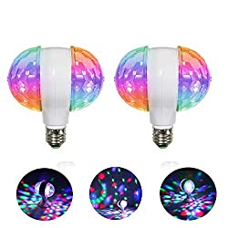 MINO ANT Disco Ball Light- 6W Rotating LED Multicolor Crystal Strobe Bulb, Cool Accessories and Decor for Halloween Christmas Party Birthday Bar or Karokee (White) ¡