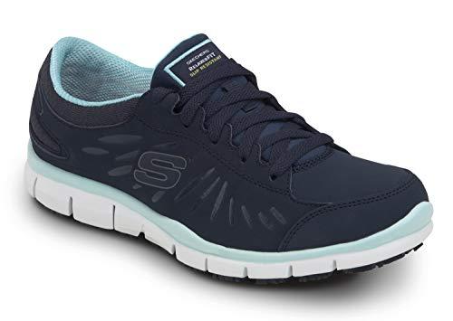 Skechers Work Stacey - Women's Navy/Acqua Soft Toe, Slip Resistant, Low Athletic (8.0 M)