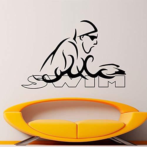 yaonuli Schwimmen Wandaufkleber Vinyl Hauptdekoration Wassersport Tauchabziehbilder Schwimmbad Wandbilder abnehmbare Tapete64X42cm