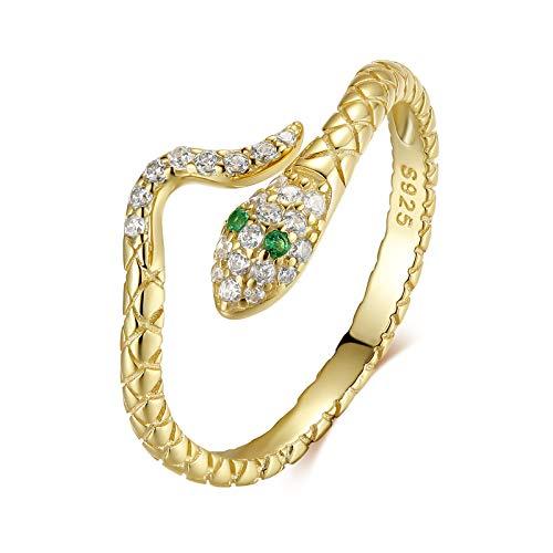 Qings Oro Anillo Serpiente Mujer Anillo Ajustable Abiertos Oro Snake Ring Anillos Vintage con Circonitas