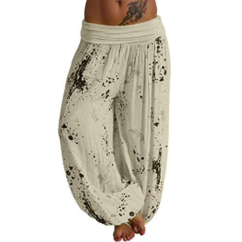 Toamen Womens Trousers Sale 2019 New Ladies Plus Size Bohemian Print Loose Smocked Waist Harem Hippie Leggings Boho Yoga Gym Pants(Yellow 3, L)