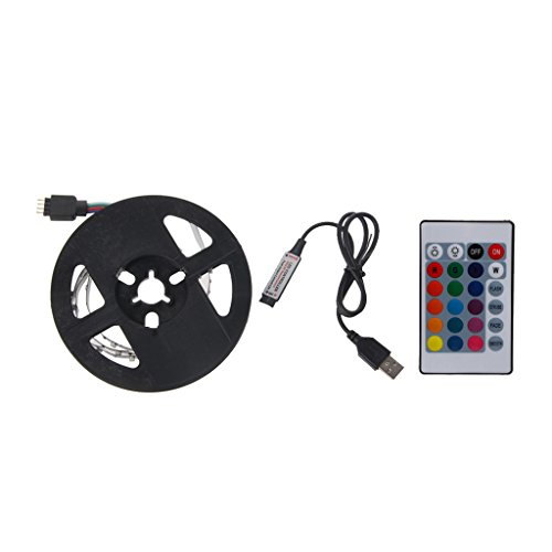 Preisvergleich Produktbild HULE DC 5V USB 30 LED / m 5050 RGB Non Waterproof Flexible LED Strip Light TV Back Lighting+24 Key Remote (0.5M)