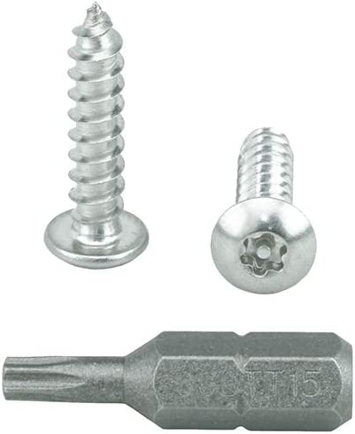 18-8 Stainless Steel Tamper Resistant #8 x 1 Button Head Torx Security Sheet Metal Screws Includes bit Qty 25 by Bridge Fasteners