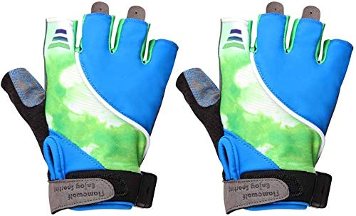 JIHAOAME Health & Fitness for Adult Half Finger Bicycle Gloves LED Cycling Gloves Biking Gloves Motorcycle Gloves Gel Pad Shock-Absorbing Anti-Slip Gloves (Size : XL)