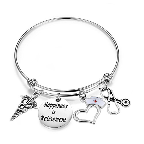 ENSIANTH Nurse Retirement Gift Happiness is Retirement Bracelet Gift for Nurse Doctor (Nur Re...