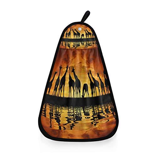 ALARGE Handtrockenes Handtuch Afrikanische Giraffe im Sonnenuntergang, schnell trocknend, zum Aufhängen von Krawatte, Gesichtshandtücher, Waschlappen für Zuhause, Küche, Bad