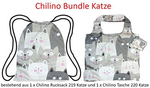 Chilino Bundle Katten opvouwbare herbruikbare tas/milieuvriendelijk/hoge draagkracht en capaciteit & opvouwbare rugzak met omslag, 47x41 cm / 43x39 cm