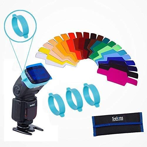 Selens Universal 20x Gel Filtro Iluminación Gels Lighting Filter con 3x Goma de Adaptación Gel Bands Kit Set para Flash Speedlite Cámara