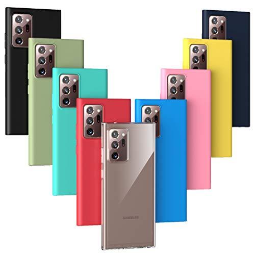 Oududianzi - 9X Cover per Samsung Galaxy Note 20 PRO, [Serie Arcobaleno] Custodia Morbida Opaca in Silicone TPU [ Trasparente + Nero + Rosa + Blu Scuro + Rosso + Verde Menta + Giallo + Verde + Blu ]