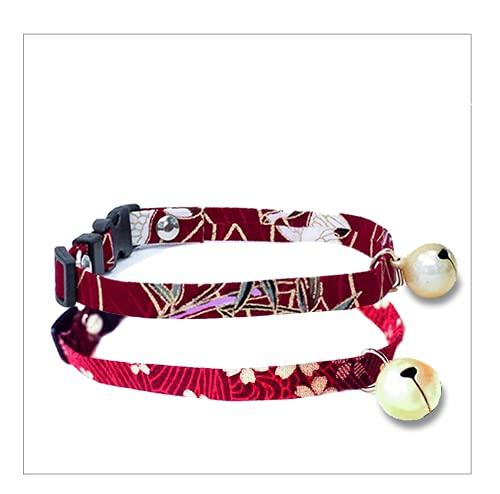 Crea Set di due collari regolabili per gatti con sonaglio. Disponibili in tanti colori. Intercambiabili per ogni occasione. (ELEGANCE)