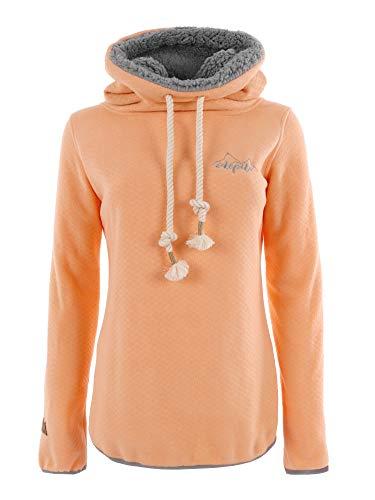 Ideale poedersneeuw IDEPUL fleece pullover dames met grote koorden, opstaande kraag & teddyfleece, zwart & koraal