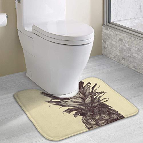 Tappeto da bagno con contorno di cranio di ananas Sketch, tappeto da bagno antiscivolo in poliestere a forma di U per WC