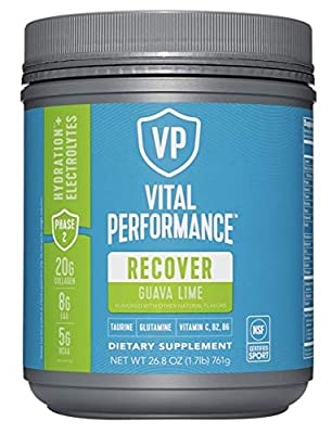 Vital Performance Recovery BCAA Powder -8g BCAAs, 5g Essential Amino Acids, 20g of Collagen (Guava Lime)