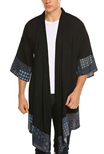 COOFANDY Men's Cardigan Lightweight Cotton Sweater Kimono Style Cloak Open Front Cape,Black,Small
