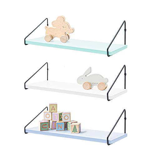 Labcosi 3-Pack Floating Wall Bookshelf for Kids Bedroom, Nursery, Playroom. Colorful Display Shelves Organizer and Display for Stuffed Toys, Books, Decor (Fresh Mint Green/ Off-White/ Baby Blue)