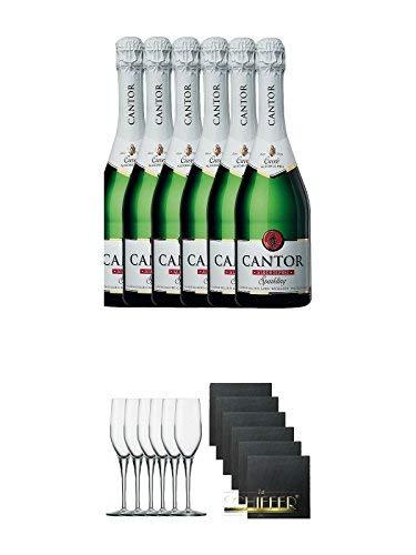 Cantor Cuvee alkoholfreier Sekt 6 x 0,75 Liter + Stölzle Exquisit Sektkelch 6er Pack + Schiefer Glasuntersetzer eckig 6 x ca. 9,5 cm Durchmesser