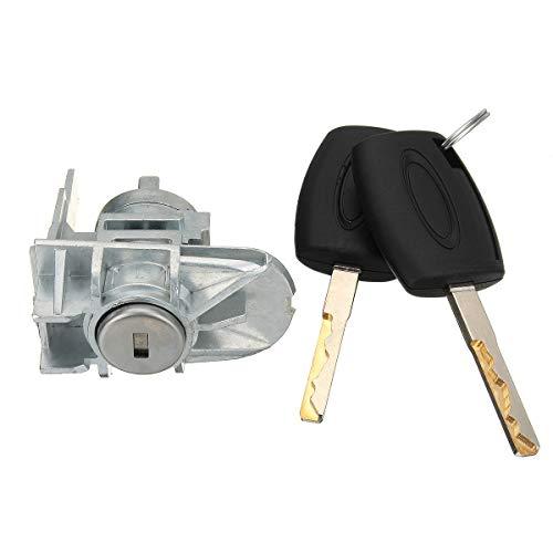 FKERYE Reemplazo del Cilindro de la Cerradura de la Puerta Delantera del Coche con 2 Llave para fit for Ford para Foco para C-MAX para S-MAX 1552849