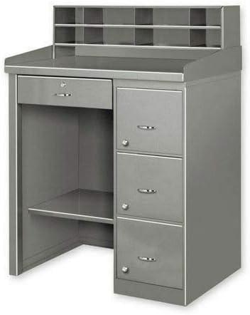 Louisville-Jefferson County Mall Gray Single Pedestal Shop Desk w 24