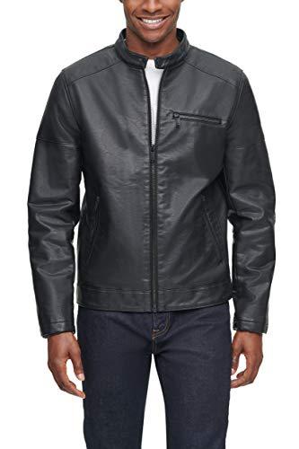 Dockers Men's Kyle Faux Leather Racer Jacket, Black, LG